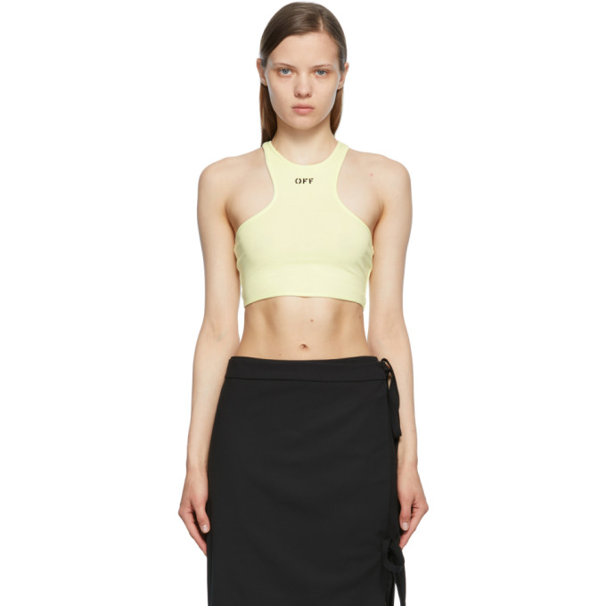 Off-White OFF-WHITE GREEN CROPPED ROWING TANK TOP