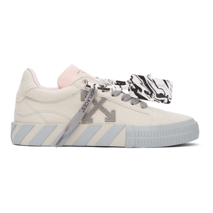 Off-White OFF-WHITE BEIGE AND GREY VULCANIZED LOW SNEAKERS