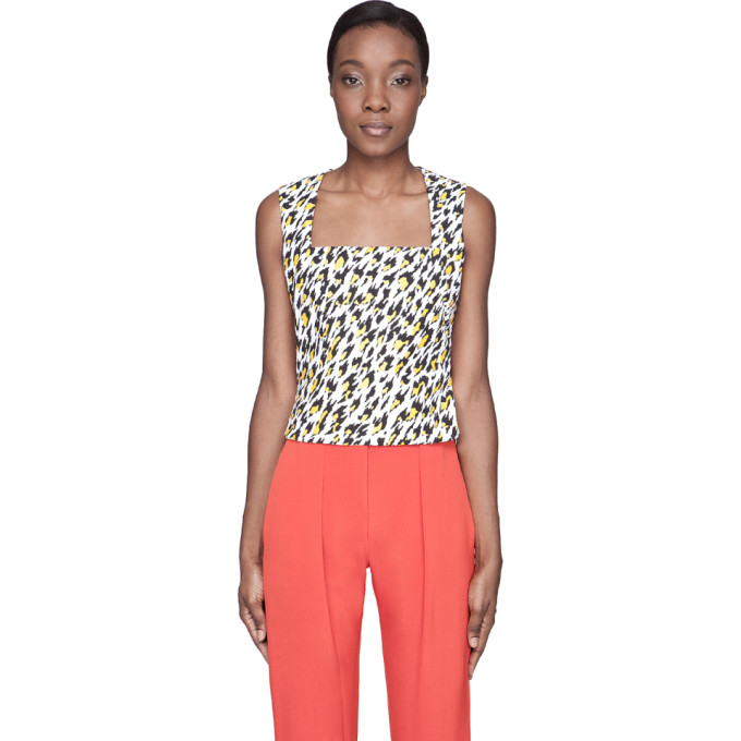 Image of Mugler White Leopard Print Applique Tank Top