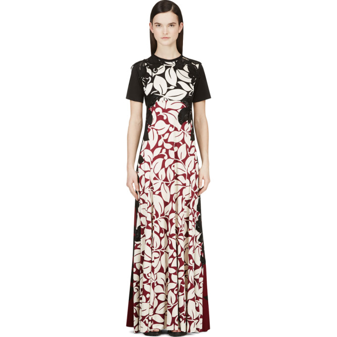 Image of Marc Jacobs Black & Burgundy Silk Jersey Gown
