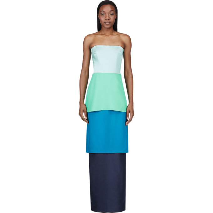 Image of Roksanda Blue Colorblocked Tiered Bustier Gown