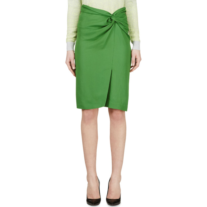 Image of Cédric Charlier Green Wrap Pencil Skirt