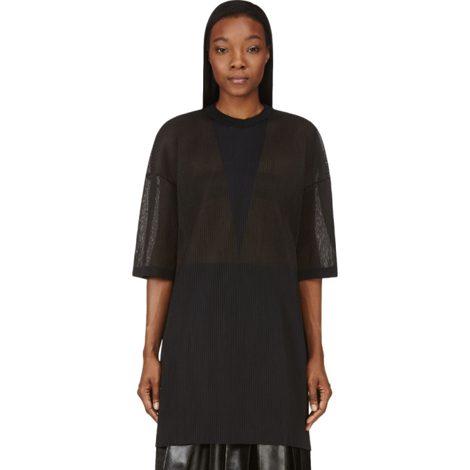 Image of Calvin Klein Collection Charcoal Grey Micro Pleat Intarsia Oversize Top
