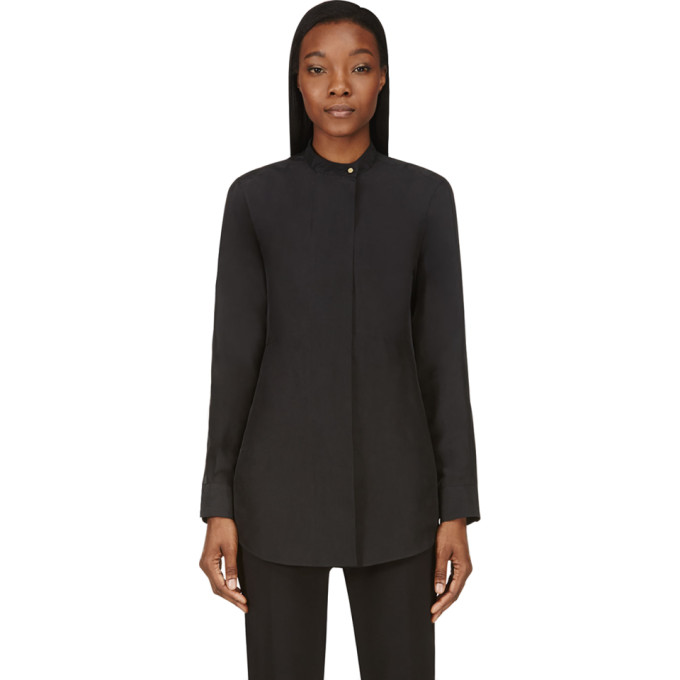 Image of Calvin Klein Collection Black Washed Silk Umiko Blouse