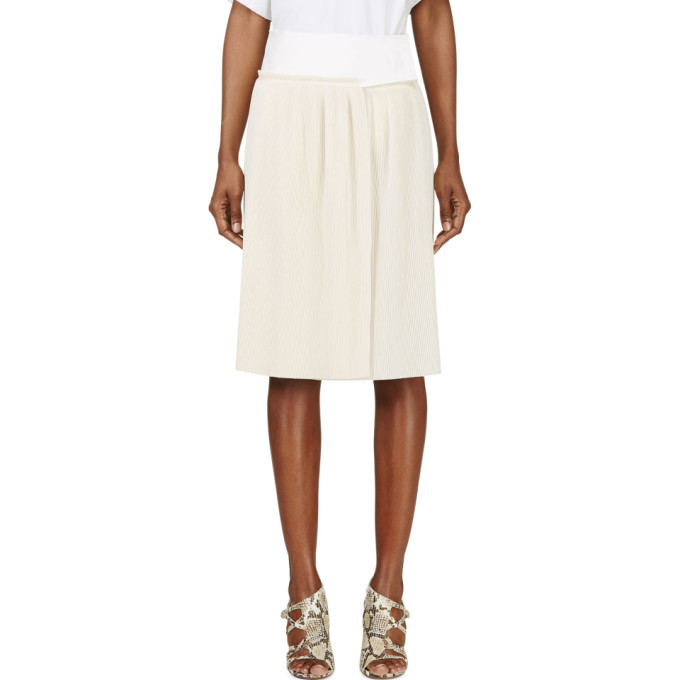 Image of Calvin Klein Collection Beige Spun Silk Micro Pleated Vives Wrap Skirt