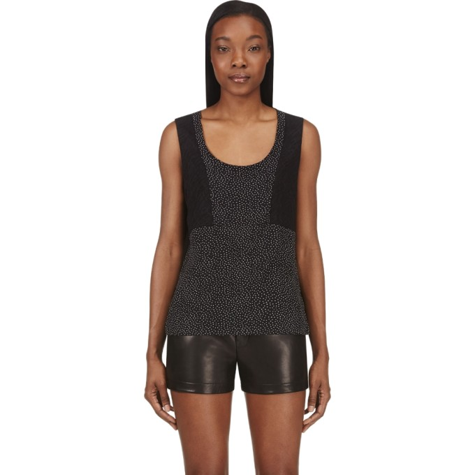 Image of Costume National Black Dot & Lace Silk Tank Top