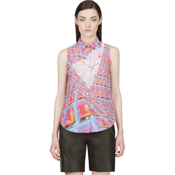 Image of Peter Pilotto Pink Silk Graphic Print Blouse