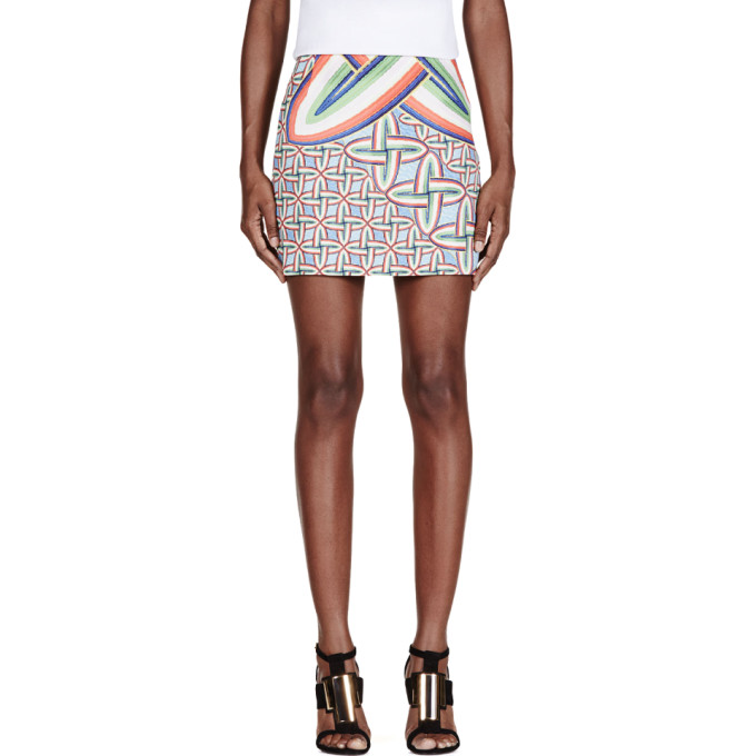 Image of Peter Pilotto Blue & Red Printed Mini Skirt