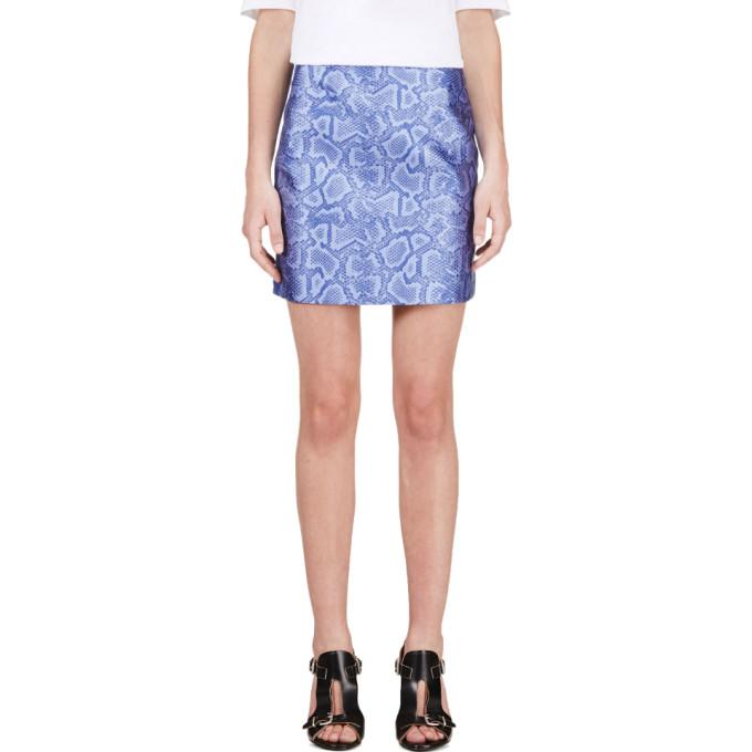Image of Richard Nicoll Blue Python Jacquard Mini Skirt