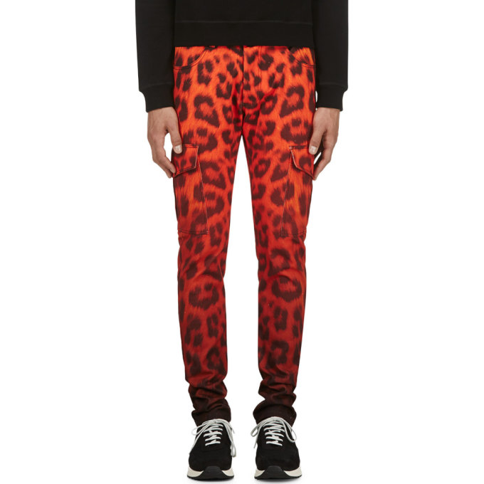 Image of Katie Eary Vermilion Leopard Twill Cargo Trousers