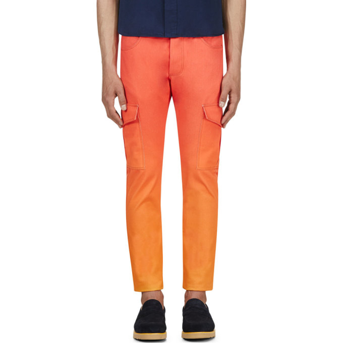 Image of Katie Eary Orange Sunset Twill Cargo Trousers