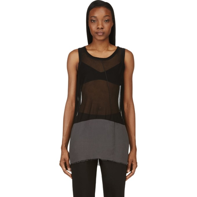 Image of Nicolas Andreas Taralis Black Mesh Contrast Panel Tank Top