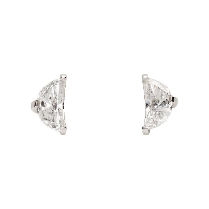 Image of Maison Margiela Fine Jewellery White Gold Split Solitaire Earrings