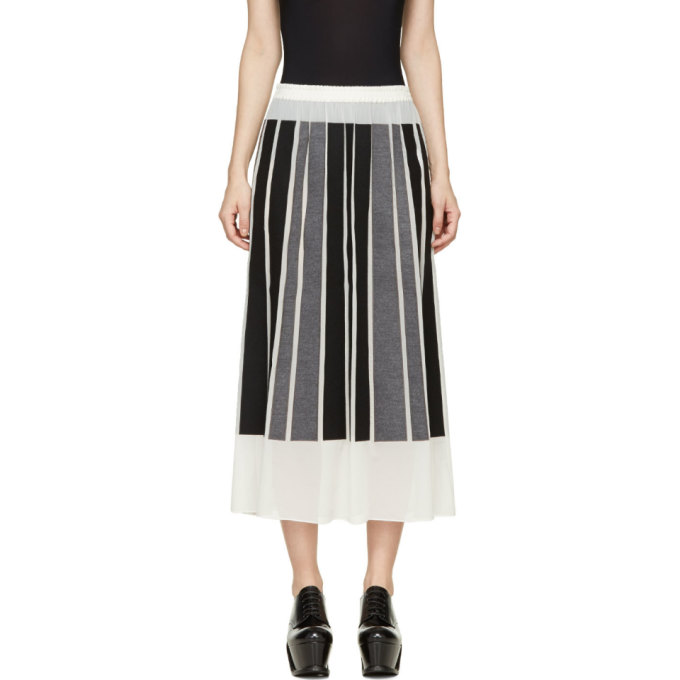 Image of Viktor & Rolf Ivory Silk Gorgette Black & Grey Paneled Skirt