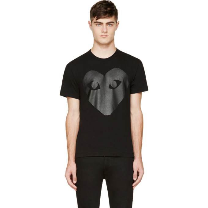 Image of Comme des Garçons Play Black & Carbon Glossy Heart Logo T-Shirt