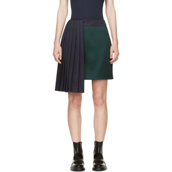 Image of Mary Katrantzou Evergreen & Navy Pleat Jumbar Skirt