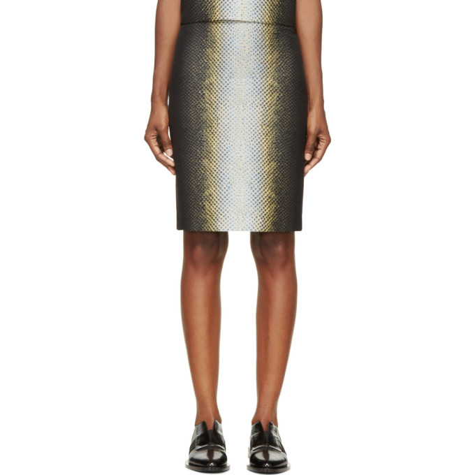 Image of Cédric Charlier Black & Yellow Snake Print Skirt