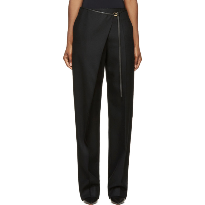 Image of Calvin Klein Collection Black Wool & Leather Angled Aggy Trousers