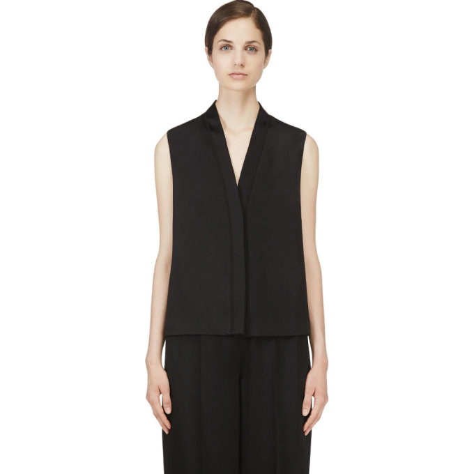 Image of Calvin Klein Collection Black Hammered Satin Wayne Blouse