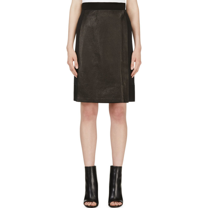 Image of Calvin Klein Collection Black Leather Panel Nousha Wrap Skirt