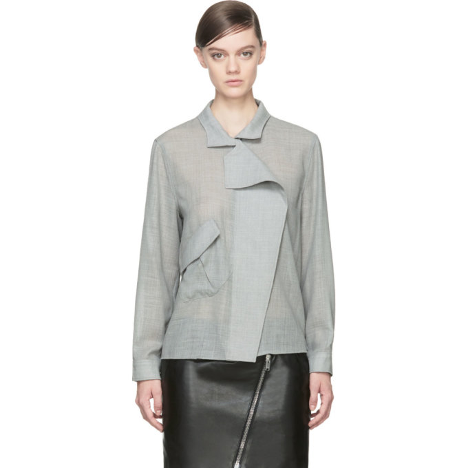 Image of Anthony Vaccarello Grey Wool Angled Pocket Blouse