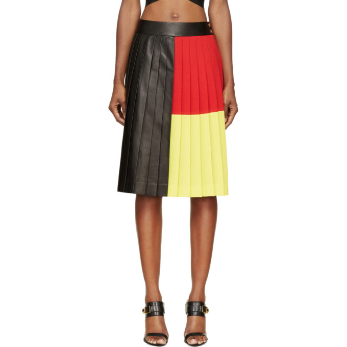 Image of Fausto Puglisi Black Colorblocked Pleated Leather Skirt