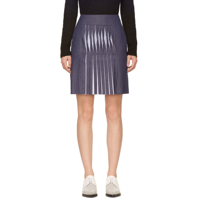 Image of Richard Nicoll Blue Twill Twist Pleat Skirt