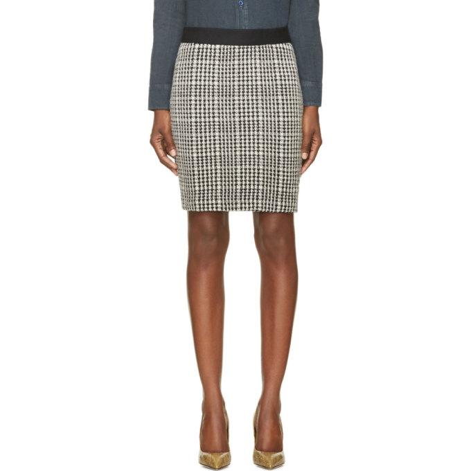Image of Roseanna Black & White Houndstooth Buster Skirt