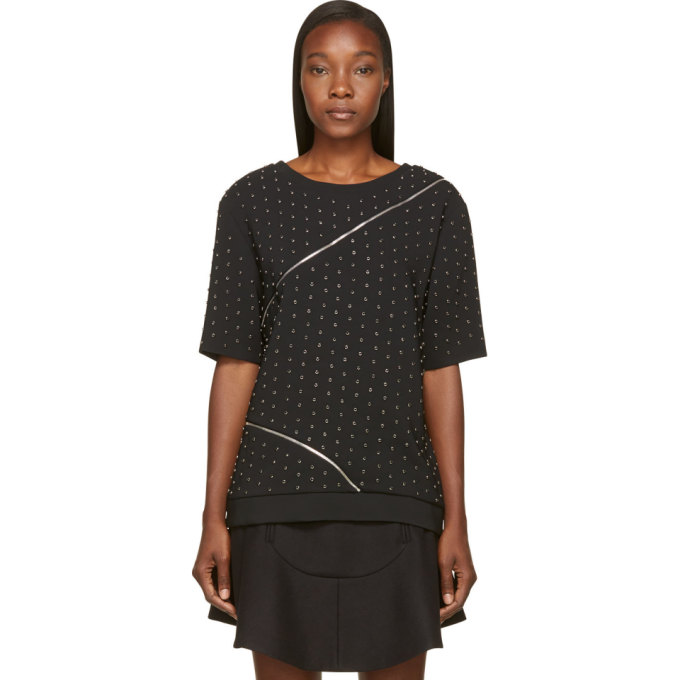 Image of Jay Ahr Black Studded & Zipped Phenice Top