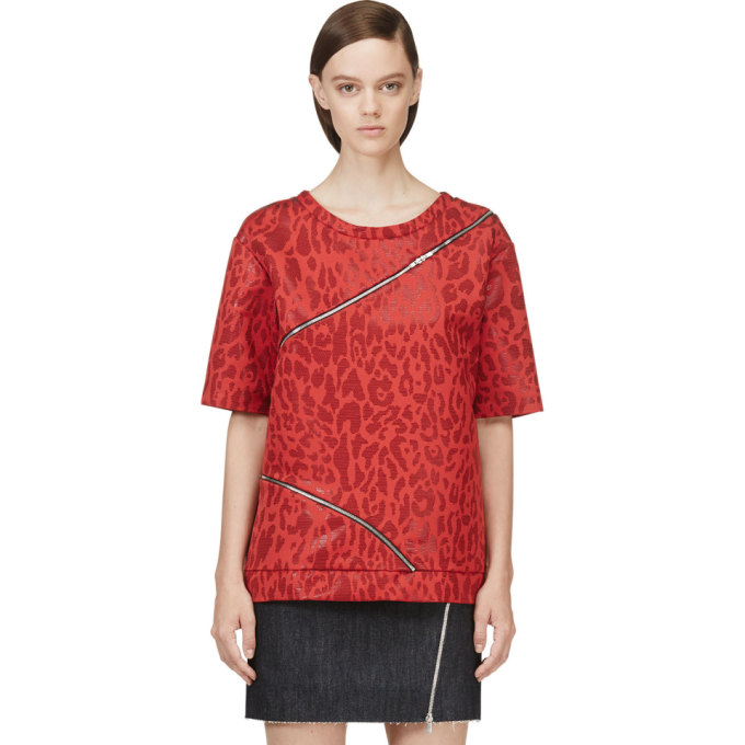Image of Jay Ahr Red Jacquard Leopard Zip-Trimmed T-Shirt