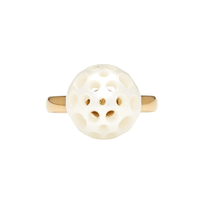 Image of Melanie Georgacopoulos Gold Drilled Pearl Tasaki Edition Ring