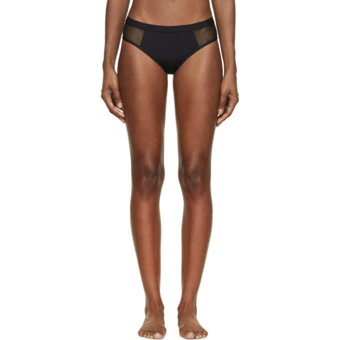 T by Alexander Wang Culotte de bikini à empiècement en filet noir