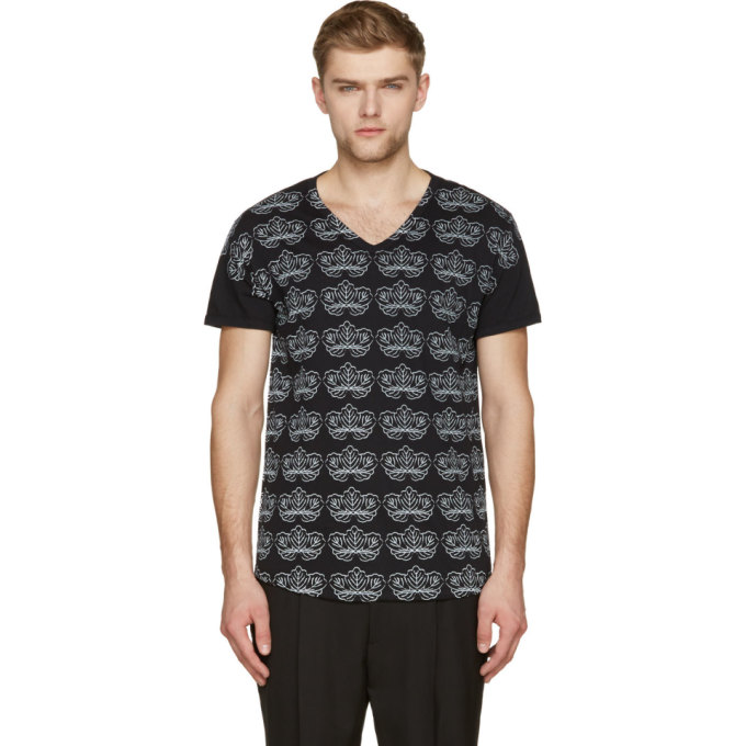 Ann Demeulemeester Black & Pale Grey Floral Print V-Neck T-Shirt