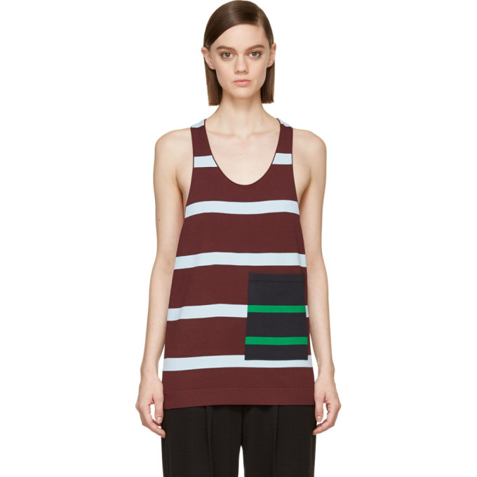 STELLA MCCARTNEY BURGUNDY ALTERNATING STRIPE POCKET TANK TOP