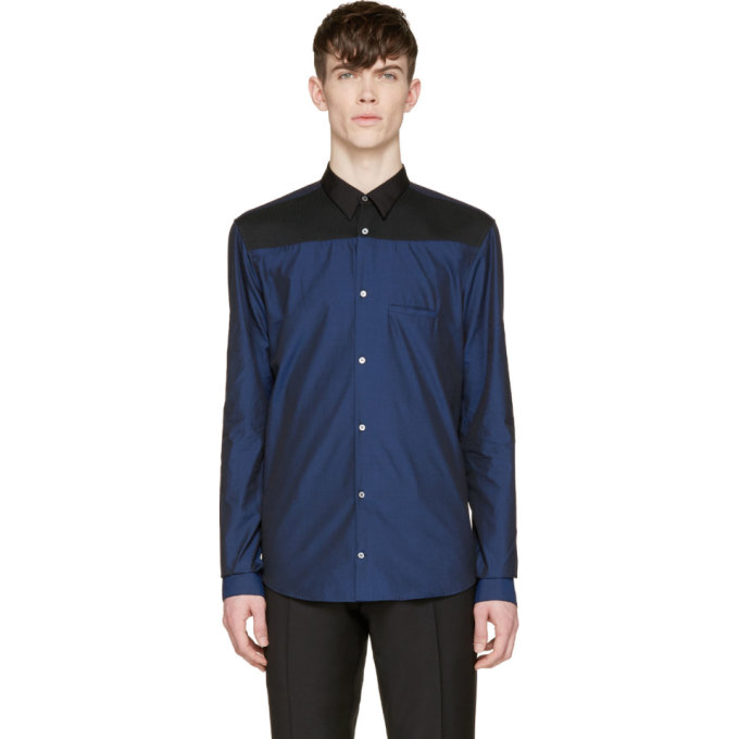 Image of Costume National Navy Colorblock Button-Up Shirt
