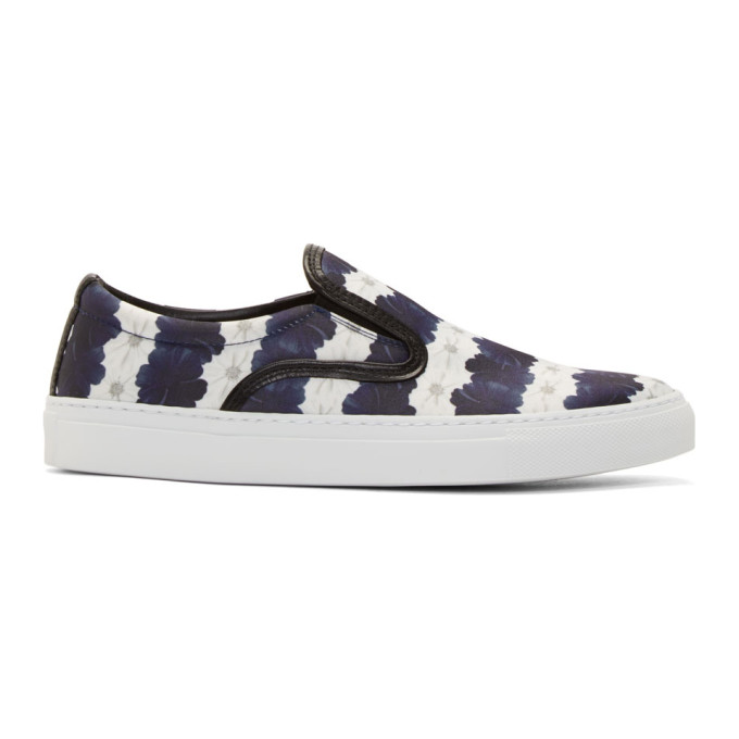 Image of Mother of Pearl White & Navy Floral Stripe Achilles Slip-On Sneakers