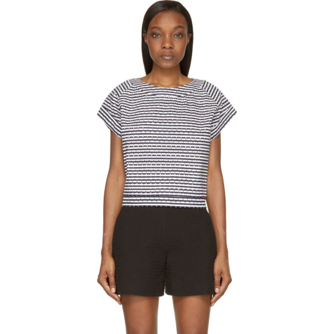 Image of Jay Ahr Navy & White Eyelet Studded Top