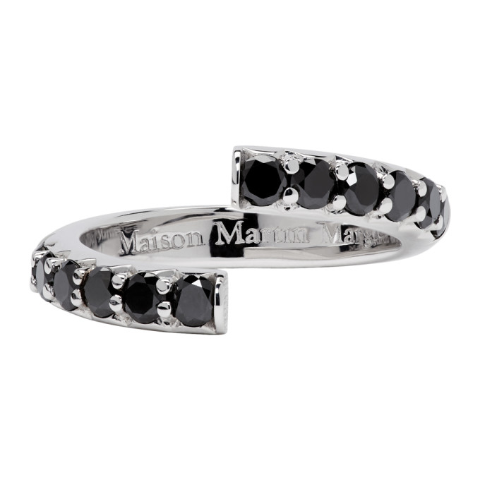 Image of Maison Margiela Fine Jewellery White Gold Half-Pavé Diamond Alliance Split Ring