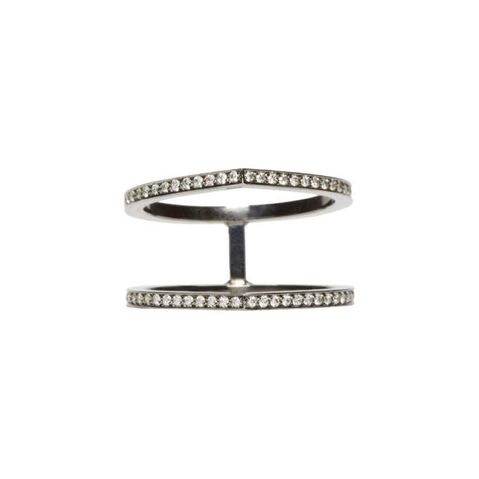 Image of Repossi Black Gold Pavé Diamond Double Antifer Ring