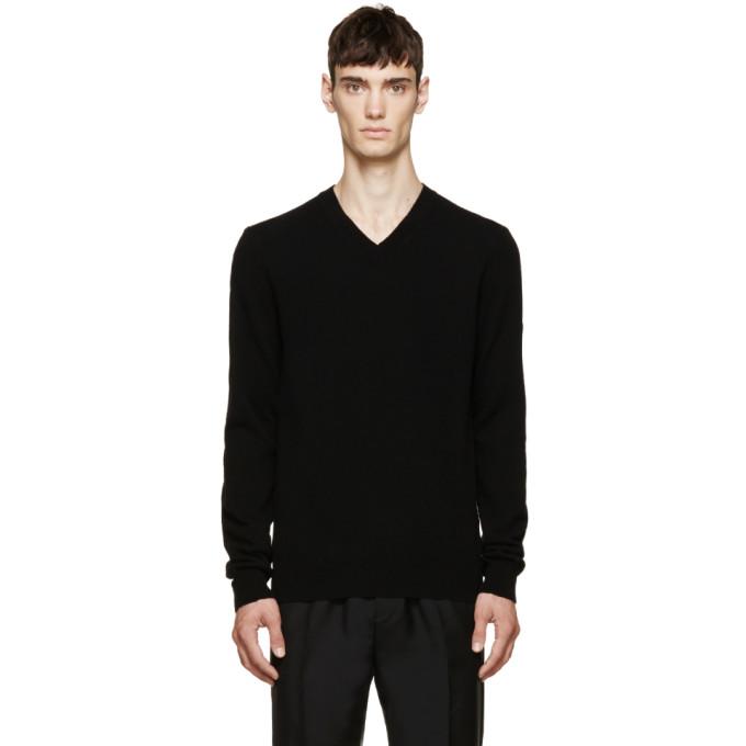 Comme des Garcons Play ブラック ウール V ネック ロゴ セーター