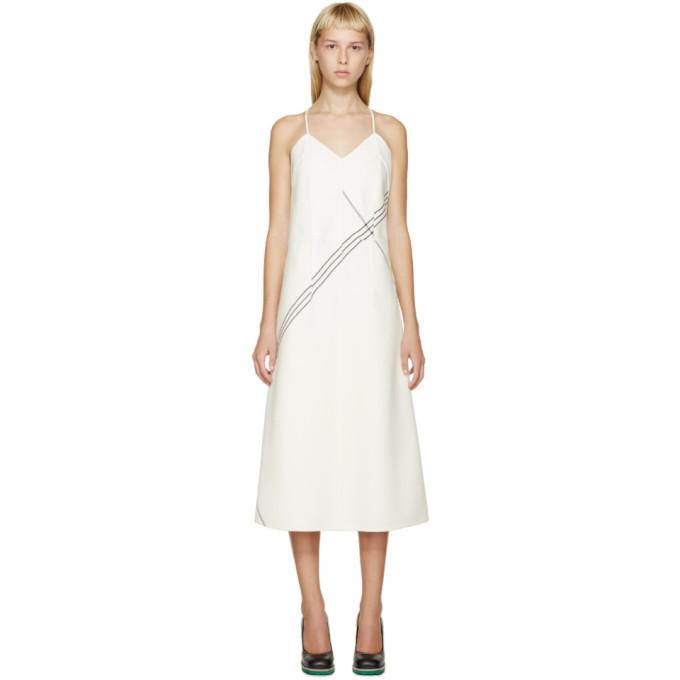 jil sander female jil sander ivory wool striped vernice dress