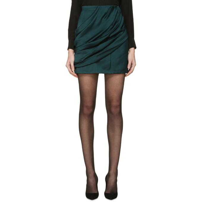 balmain female balmain green draped skirt
