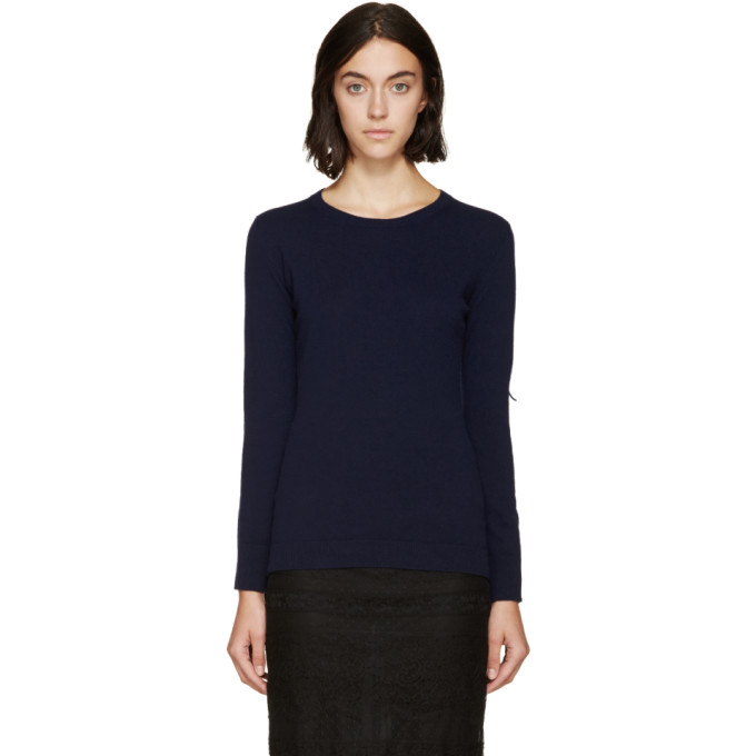 Image of Burberry Prorsum Navy Fringed Knit Sweater