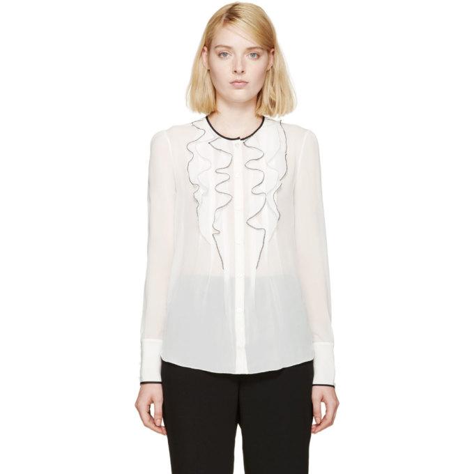 nina ricci female nina ricci white silk ruffle blouse