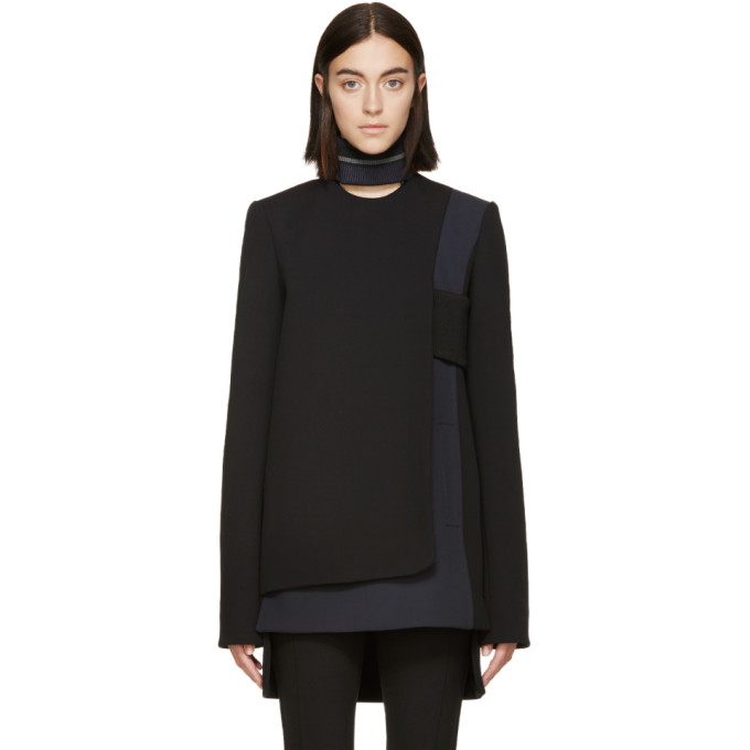 Image of Paco Rabanne Black & Grey Wool Panel Tunic
