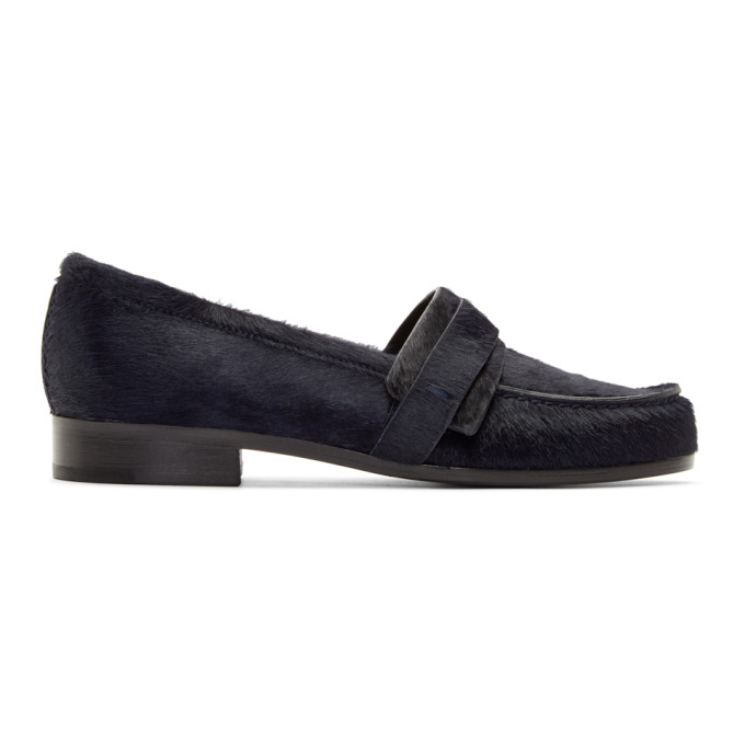 Image of Carritz Navy Calf-Hair Loafers