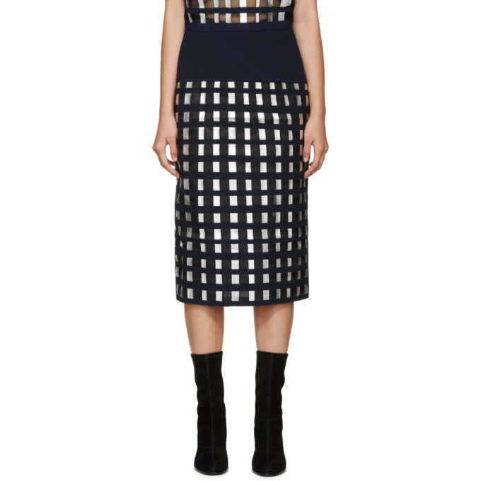 Image of Rejina Pyo Navy & Silver Sasha Lattice Skirt