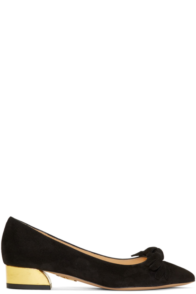 Charlotte Olympia Black Suede Lady Like Ballerina Flats HiNSBhSd