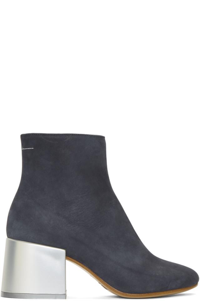 MM6 Maison Martin Margiela Grey Suede Flared Heel Ankle Boots maeuk
