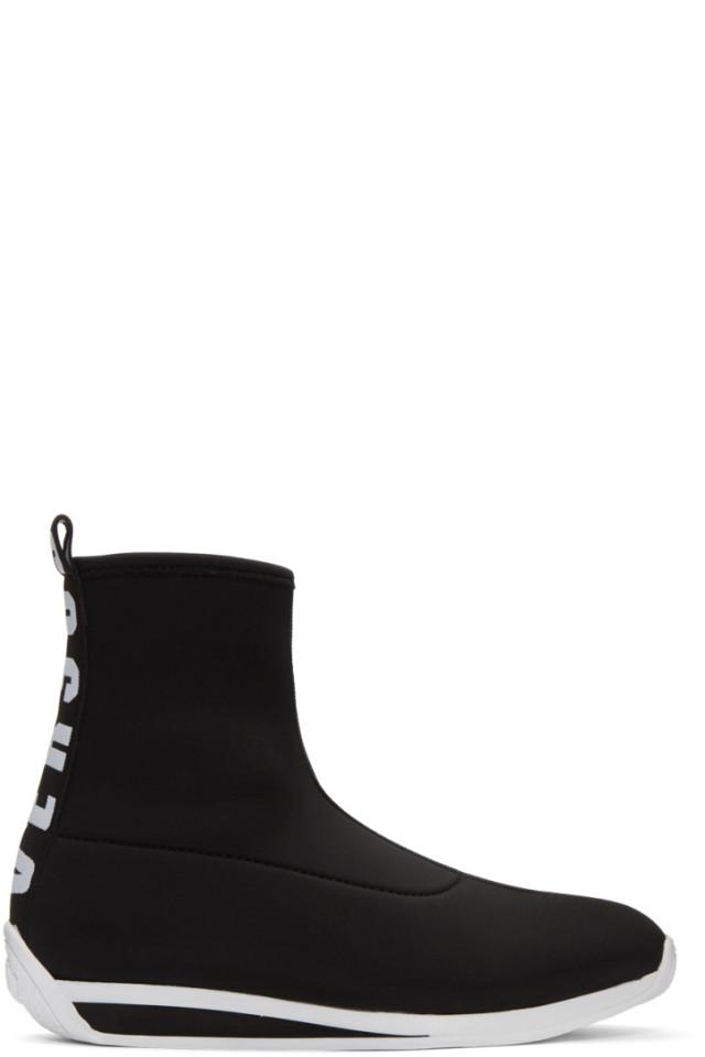 Versus Black Logo Sock High-Top Sneakers